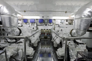 interior of yacht engine room